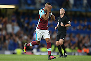 Dimitri Payet of West Ham United covers his face after missing an easy chance to score. Premier league match, Chelsea v West Ham United at Stamford Bridge in London on Monday 15th August 2016.<br /> pic by John Patrick Fletcher, Andrew Orchard sports photography.