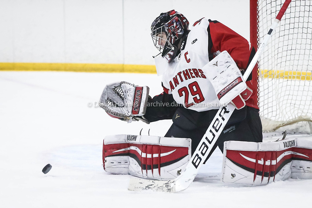 (1/21/17, HOPEDALE, MA) Holliston's Adam Kampersal makes a save during the boys hockey game against Ashland at Blackstone Valley Ice Arena in Hopedale on Saturday. Daily News and Wicked Local Photo/Dan Holmes