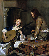 Young woman playing a lute: Dutch interior. Girl in white satin dress and blue velvet fur-trimmed jacket is flirting with young man sitting on table covered with a carpet.  Gerard ter Borch II (1617-1681) also known as Terborch, Dutch genre painter.