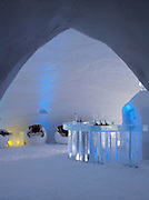 The Ice Bar inside an ice hotel in Kirkeness, Finnmark region in northern Norway
