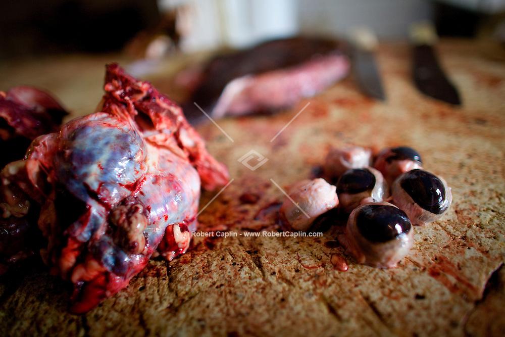 Cows brain and eyes on the chopping block at Basurto market near Cartagena, Colombia...Photo by Robert Caplin.