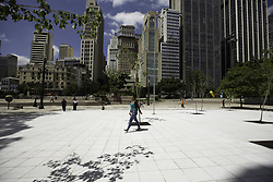 March 23, 2019 - SãO Paulo, Brazil - SÃO PAULO, SP - 23.03.2019: PRAÇA DAS ARTES INAUGURA NOVO ACESSO - People walk in a new area inaugurated in Praça das Artes, central region of São Paulo, on Saturday morning (23). Location connects the square to the Anhangabaú Valley. (Credit Image: © Bruno Rocha/Fotoarena via ZUMA Press)