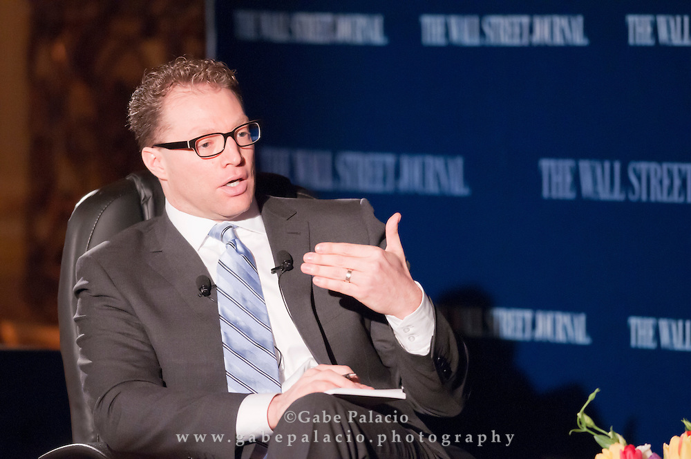 Robert Frank, Senior Writer of the Wall Street Journal, hosting The WSJ Future of New York series on Philanthropy in New York in New York City on April 8, 2011.  (photo by Gabe Palacio)