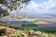 Israel, Jezreel Valley as seen from Mt Shaul on the Gilboa