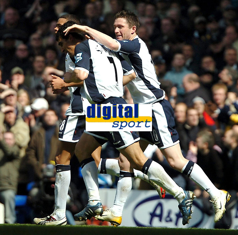 Photo: Ed Godden.<br />Tottenham Hotspur v Manchester City. The Barclays Premiership. 08/04/2006. Spurs' Robbie Keane (R) congratulates his team mate, Paul Stalteri after he scored the first goal.