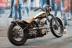 Jordan Dickinson's custom Knucklehead in the Harley-Davidson Inviational Bike Show at the Harley-Davidson Museum during the Milwaukee Rally. Milwaukee, WI, USA. Sunday, September 4, 2016. Photography ©2016 Michael Lichter.