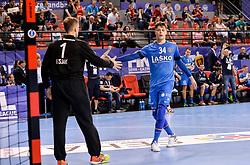 Urban Lesjak and Domen Makuc of Celje PL celebrate during handball match between Meshkov Brest and RK Celje Pivovarna Lasko in bronze medal match of SEHA- Gazprom League Final 4, on April 15, 2018 in Skopje, Macedonia. Photo by  Sportida
