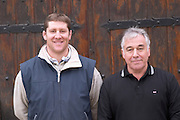 Jean-Remy (left), son, and Jean Daurat-Fort Chateau de Nouvelles. Fitou. Languedoc. A door. Owner winemaker. France. Europe.