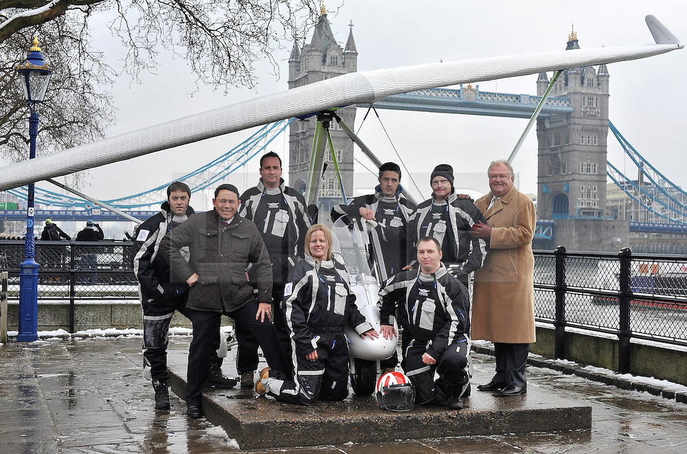 © Licensed to London News Pictures. 22/01/2013. London, United Kingdom. Injured servicemen bid for world-first antarctic mission.  A team of injured servicemen are to attempt a world first microflight to the south pole. Pictured R to L Capt Martin Hewitt, Rory Underwood, Capt Luke Sinnott, Flt Lt Kat Janes, Pte Nathan Foster, Former Lcpl Jamie Hull, Cpl Alan Robinson, Patron Lord Rigby Jones. Photo credit : Justin Setterfield/LNP.