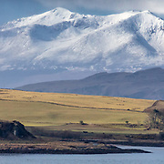 The Isles of Great Cumbrae, Bute and Arran from near Largs, Ayrshire, Scotland.