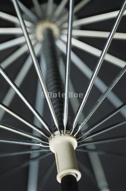 metal spokes inside umbrella