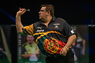 Jose de Sousa (Portugal) during the Betway Premier League Darts Night Eight at Marshall Arena, Milton Keynes, United Kingdom on 21 April 2021