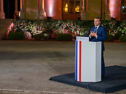 French President Emmanuel Macron attends a media conference in Beirut, Lebanon, Tuesday, Sept. 1, 2020. French President Emmanuel Macron issued a stern warning to Lebanon's political class, urging them to commit to serious reforms within few months or risk punitive action including sanctions, if they fail to deliver. (VXP Photo/ Matt Kynaston)