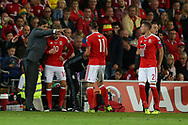 Chris Coleman, the Wales manager gives instructions to Aaron Ramsey (10) and Gareth Bale of Wales during a break in play.Wales v Austria , FIFA World Cup qualifier , European group D match at the Cardiff city Stadium in Cardiff , South Wales on Saturday 2nd September 2017. pic by Andrew Orchard, Andrew Orchard sports photography