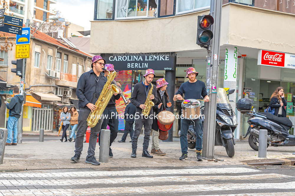 A group of musicians playing in Allenby street, Tel Aviv, Israel