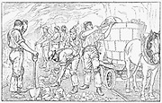 Cheshire Salt Mines, England: Miners gathering loose rock salt after blasting and loading it into horse-drawn tub for hoisting to surface. Most rock salt was exported as it was cheaper to obtain salt from brine. Engraving 1889.
