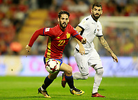 Spain's Isco Alarcon (l) and Albania's Elseid Hysaj during FIFA World Cup 2018 Qualifying Round match. October 6,2017.(ALTERPHOTOS/Acero)