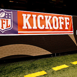 September 9, 2010; New Orleans, LA, USA;  A NFL Kickoff sign is displayed on the wall for season opener between the New Orleans Saints and the Minnesota Vikings at the Louisiana Superdome. Mandatory Credit: Derick E. Hingle