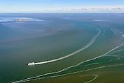 Nederland, Friesland, Vlieland, 28-02-2016; MS Vlieland onderweg naar het gelijknamige eiland en passert Griend. <br /> Veerboot van Rederij Doeksen, veerdienst tussen het waddeneiland Vlieland en Harlingen.<br /> Ferry on its way to Wadden island Vlieland.<br /> <br /> luchtfoto (toeslag op standard tarieven);<br /> aerial photo (additional fee required);<br /> copyright foto/photo Siebe Swart