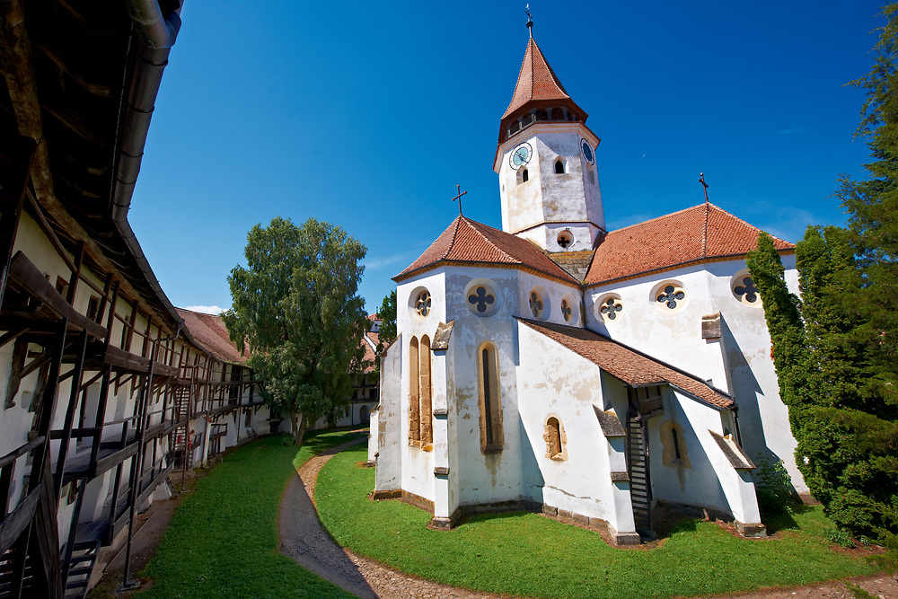 Prejmer ( German: Tartlau) Fortified Church, one of the best preserved of its kind in Eastern Europe was built by the Teutonic Knights in 12 12. Brasov, Transylvania. UNESCO World Heritage Site .<br /> <br /> Visit our ROMANIA HISTORIC PLACXES PHOTO COLLECTIONS for more photos to download or buy as wall art prints https://funkystock.photoshelter.com/gallery-collection/Pictures-Images-of-Romania-Photos-of-Romanian-Historic-Landmark-Sites/C00001TITiQwAdS8<br /> .<br /> Visit our MEDIEVAL PHOTO COLLECTIONS for more   photos  to download or buy as prints https://funkystock.photoshelter.com/gallery-collection/Medieval-Middle-Ages-Historic-Places-Arcaeological-Sites-Pictures-Images-of/C0000B5ZA54_WD0s
