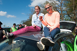 Olympic dressage rider Laura Bechtolsheimer and friend college friend Annabel enjoy a drink during the cross country<br /> Mitsubishi Motors Badminton Horse Trials - CCI4* - Badminton 2013<br /> © Hippo Foto - Jon Stroud