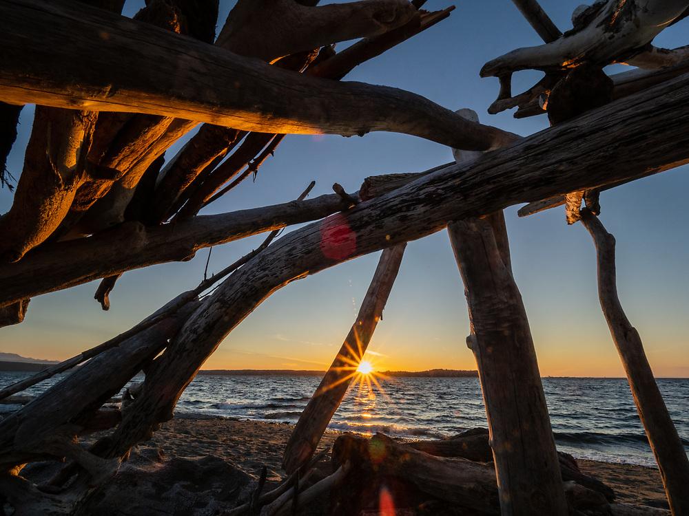 United States, Washington, Fort Flagler state park, driftwood shelter on beach at sunset