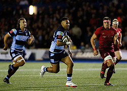 Rey Lee-Lo of Cardiff Blues<br /> <br /> Photographer Simon King/Replay Images<br /> <br /> Guinness PRO14 Round 4 - Cardiff Blues v Munster - Friday 21st September 2018 - Cardiff Arms Park - Cardiff<br /> <br /> World Copyright © Replay Images . All rights reserved. info@replayimages.co.uk - http://replayimages.co.uk