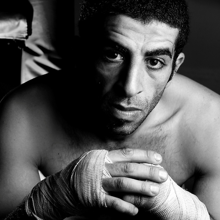 4/11/09 -- La Habra Boxing Club -- La Habra, CA:  Mohamed Daly poses for a portrait at the La Habra Boxing Club.  Daly works out at the gym daily with the goal of turning pro in the super middle weight class.  Photo by Christopher McGuire, SportsShooter Academy VI.