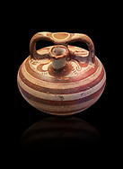 painted Mycenaean stirrup jars fro perfume, Mycenae Chamber Tomb 80, 14th-13th Cent BC.  National Archaeological Museum Athens. Cat no 3106.  Black Background .<br /> <br /> If you prefer to buy from our ALAMY PHOTO LIBRARY  Collection visit : https://www.alamy.com/portfolio/paul-williams-funkystock/mycenaean-art-artefacts.html . Type -   Athens    - into the LOWER SEARCH WITHIN GALLERY box. Refine search by adding background colour, place, museum etc<br /> <br /> Visit our MYCENAEN ART PHOTO COLLECTIONS for more photos to download  as wall art prints https://funkystock.photoshelter.com/gallery-collection/Pictures-Images-of-Ancient-Mycenaean-Art-Artefacts-Archaeology-Sites/C0000xRC5WLQcbhQ