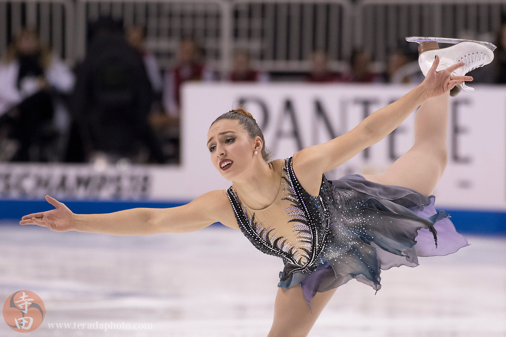 January 3, 2018; San Jose, CA, USA; Courtney Hicks performs in the ladies short program during the 2018 U.S. Figure Skating Championships at SAP Center.