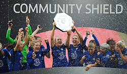Chelsea Women celebrate by lifting the FA Women's Community Shield after beating Manchester City Women 2-0- Mandatory by-line: Nizaam Jones/JMP - 29/08/2020 - FOOTBALL - Wembley Stadium - London, England - Chelsea v Manchester City - FA Women's Community Shield