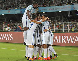 October 8, 2017 - Kolkata, W.B, India - England mid fielder Jadon Sancho and other Player enjoys after scoring his 2nd goal during the FIFA u17 World Cup. (Credit Image: © Sandip Saha/Pacific Press via ZUMA Wire)