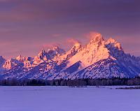Winter sunrise over the Tetons, Grand Teton National Park Wyoming USA