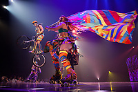 The first time in Ottawa for the Cirque du Soleil. Paola Fraschini colours up the stage, skating around with that huge colourful flag, while Trevor Bodogh jumps off a platform on his trial bike, as part of the Volta show that toured the country in August of 2017.
