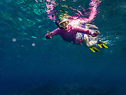 """A snorkeler in pink shirt floating on turquoise water surface is photographed from below. Snorkel at Two-Step (Pae'a) on Honaunau Bay, located across Keoneele Cove from Pu'uhonu O Honaunau National Historical Park (""""Place of Refuge""""), on the Big Island of Hawaii, USA. Address of Pae'a: 84-5571 Honaunau Beach Rd, Captain Cook, HI 96704. For this photo's licensing options, please inquire."""