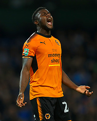 Wolverhampton Wanderers' Bright Enobakhare shows his frustration after a missed chance during the Carabao Cup, Fourth Round match at the Etihad Stadium, Manchester.