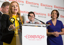 Scottish Parliament Election 2016 Royal Highland Centre Ingliston Edinburgh 05 May 2016; Ash Denham makes her acceptance speech in front of Kezia Dugdale (Scottish Labour Party leader) during the Scottish Parliament Election 2016, Royal Highland Centre, Ingliston Edinburgh.<br /> <br /> (c) Chris McCluskie | Edinburgh Elite media