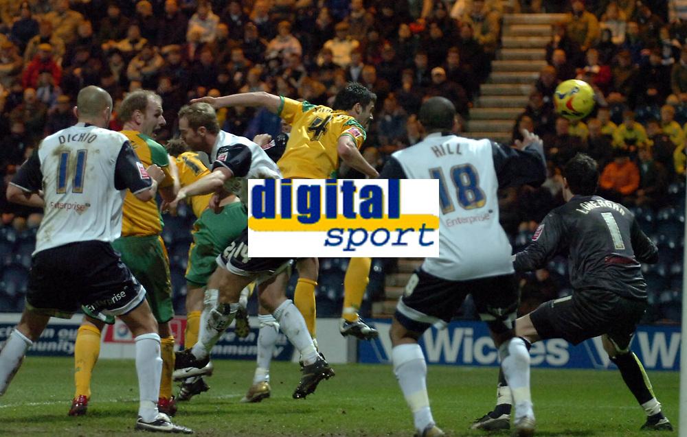 Photo: Paul Greenwood.<br />Preston North End v Norwich City. Coca Cola Championship. 20/02/2007. Norwich's Jason Shackell (4) scores Norwich's goal