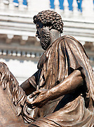 Statue of Marcus Aurelius on the top of Capitoline Hill, Rome, Italy.