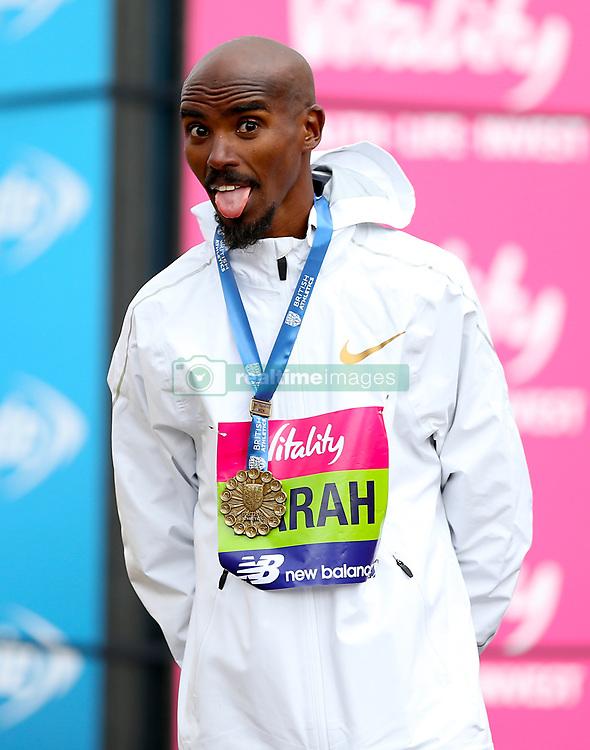 Mo Farah winner of the British Half Marathon Championships during the Vitality Big Half in London.