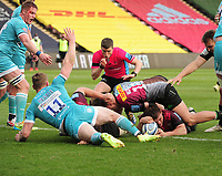 Rugby Union - 2020 / 2021 Gallagher Premiership - Round 16 - Harlequins vs Worcester Warriors - The Stoop<br /> <br /> Will Evans of Quins dives over for his 2nd try<br /> <br /> Credit : COLORSPORT/ANDREW COWIE