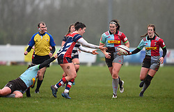 Phoebe Murray of Bristol Ladies off-loads the ball - Mandatory by-line: Paul Knight/JMP - 03/02/2018 - RUGBY - Cleve RFC - Bristol, England - Bristol Ladies v Harlequins Ladies - Tyrrells Premier 15s