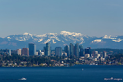 United States, Washington, Bellevue, city skyline and Lake Washington viewed from Seattle