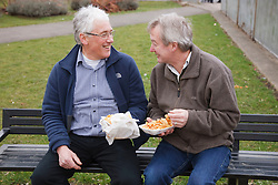 Eating fish and chips. Cleared for Mental Health issues.