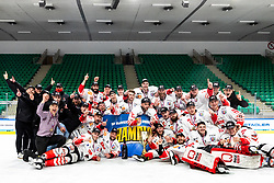 Players of HDD SIJ Acroni Jesenice celebrate after ice hockey match between HK SZ Olimpija and HDD SIJ Acroni Jesenice in fifth game of Final at Slovenian National League, on May 10, 2021 in Hala Tivoli, Ljubljana, Slovenia. Photo by Matic Klansek Velej / Sportida