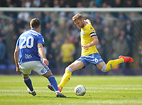 Leeds United's Liam Cooper in action with Birmingham City's Gary Gardner <br /> <br /> Photographer Mick Walker/CameraSport<br /> <br /> The EFL Sky Bet Championship - Birmingham City v Leeds United - Saturday 6th April 2019 - St Andrew's - Birmingham<br /> <br /> World Copyright © 2019 CameraSport. All rights reserved. 43 Linden Ave. Countesthorpe. Leicester. England. LE8 5PG - Tel: +44 (0) 116 277 4147 - admin@camerasport.com - www.camerasport.com