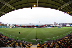 A general view of Rodney Parade, home of Dragons<br /> <br /> Photographer Simon King/Replay Images<br /> <br /> Guinness Pro14 Round 11 - Dragons v Cardiff Blues - Tuesday 26th December 2017 - Rodney Parade - Newport<br /> <br /> World Copyright © 2017 Replay Images. All rights reserved. info@replayimages.co.uk - www.replayimages.co.uk