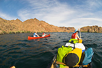 Canoers navigate the Colorado River through The Black Canyon, Nevada.