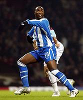 Photo: Chris Ratcliffe.<br />West Ham United v Wigan Athletic. The Barclays Premiership. 28/12/2005.<br />Goalscorer Jason Roberts.