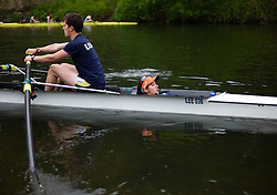 © Licensed to London News Pictures.13/06/15<br /> Durham, England<br /> <br /> The crew of a boat head to the start point ahead of their race during the 182nd Durham Regatta rowing event held on the River Wear. The origins of the regatta date back  to commemorations marking victory at the Battle of Waterloo in 1815. This is the second oldest event of this type in the country and attracts over 2000 competitors from across the country.<br /> <br /> Photo credit : Ian Forsyth/LNP